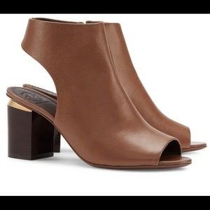 Tory Burch Jones Peep Toe Bootie (bistro brown)